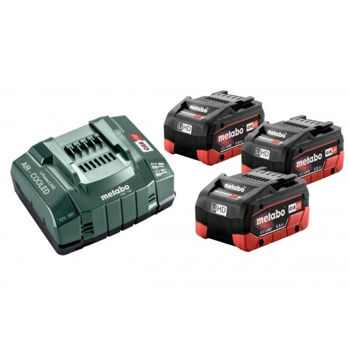 Bộ 3 Pin Sạc Metabo 18v 3 X 5.5ah LiHD Battery ASC 145 Charger